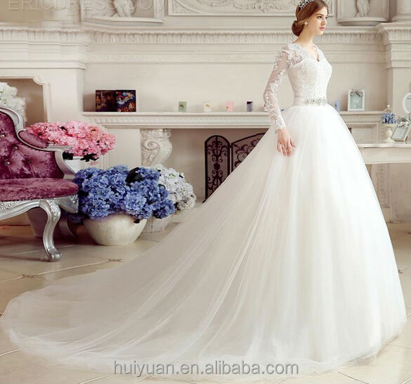 product latest long lace sleeve wedding dresses deep neck bridal gown