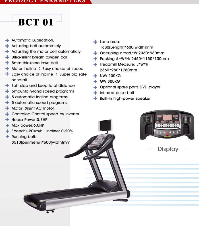 BCT 01 Luxurious Commercial new fitness treadmill manual