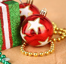 customized red clear glass ball christmas ornament
