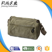 Long Strap Small Canvas Zipper Messenger Bag with Multiple Pockets