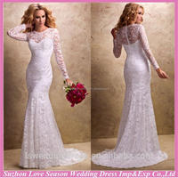 WD1268 alibaba recommand for wholesales buttons back white see throught back lace overlayer long sleeves mermaid wedding dress