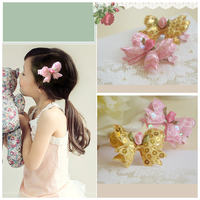 shining fashion double bows hairpins cute korean style hair clip for girls christmas ornaments wholesale