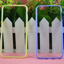 "Double Color Back Cover Case for iPhone 6 4.7"" 5.5"",clear transparent back PC plus color bumper"