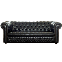 Modern Leather Sofa Ludlow Black Chesterfield Sofa Living Room Sofa(3 seaters)