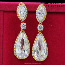 MECY LIFE wholesale elegant teardrop zircon one gram gold earrings designs jewelry