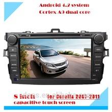8 pulgadas android pura pantalla táctil de doble del coche del dinar reproductor de dvd para toyota corolla verso 2009 2010 2011