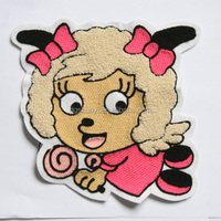 Cartoon sheep heat cut chenille embroidery patches
