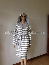 good looking striped 100% cotton women's bathrobe