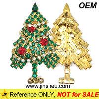 Cheap Promoitonal Stocking Metal Brooch Christmas Tree Crystal Lapel Pin