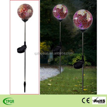 Mosaic paste glass plug-in withe glass globe solar stake