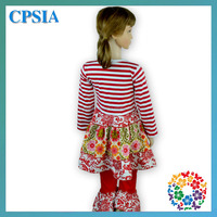 Trendy Fall 2015 Cotton Stripe Long Sleeve Dress Ruffle Pant Girls Childrens Boutique Clothing Christmas, Boutique Girl Clothing