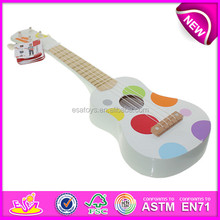Christmas musical toys cheap mini electric guitar for kids,cartoon wooden guitar toy for children,baby wooden toy guitar W07H031