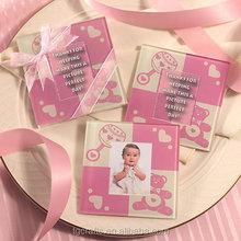 Factory make glass coasters pink ribbons photo coasters
