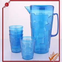 Plastic Water Jug,Liquid Jar Unbreakable Plastic Water Set With 4 Cups