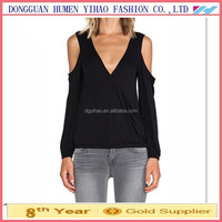 2015 New style fashion ladies clothing Tops Casual Sexy Black Off The Shoulder V-Neck T-shirt