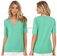 2015 long flounced double ruffle sleeve china online slim fit women design t-shirt printer price in india v neck fitted