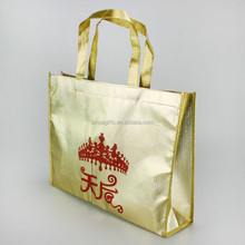 High quality gold non-woven grocery ladies laminated shopping convention gold tote bag