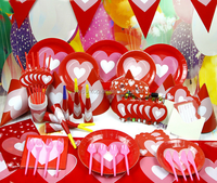 Red Big Heart Birthday Theme Party Tableware Set Baby Shower Decorations