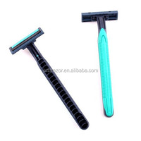Disposable razor with the rubber handle twin blades