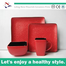 hand painting China Red modern square dinner set with flower