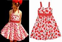 2015 Summer style Kids Baby Girls dress Sling Sweet Cherry Dress with polka dot children clothing Lovely Baby Princess Dress