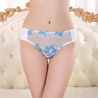 Sexy Undergarment For Ladies Low Waist Softness Thong Panties Wholesale Lace Cotton Fabric Women Thong Underwear