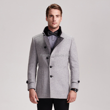 Wool Cashmere High Collar Mens Grey Pea Coats