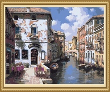 factory price impressionist venice oil painting, diy painting by number