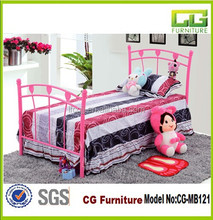 2015 New Beautiful Pink Single Metal Bed For Girls