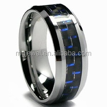 Blue Carbon fiber Tungsten Ring with comfort fit inside
