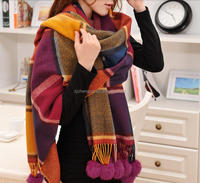 New Design Fashion Checked Printed Tassel Wool Scarf 18 Ball Tops Women Winter Pashmina Shawl