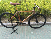 700C full aluminum alloy parts bamboo frame single speed fixed gear bike