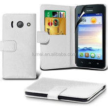 PU Luxury Wallet Leather Flip Top Case Skin Cover For Huawei Ascend Y300 With LCD Screen Protector Guard
