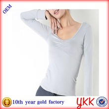Environmental Bamboo Fabric Quick Dry Anti Bacterial women yoga wear ladies sexy long sleeve yoga wear