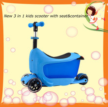2015 new kids 3 in 1 scooter with seat and drawer for cool christmas gift