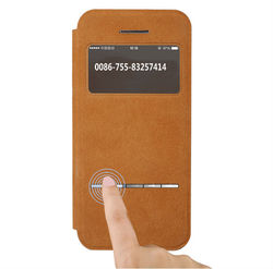 ultra thin flip screen window leather case with magnet for apple iphone 6