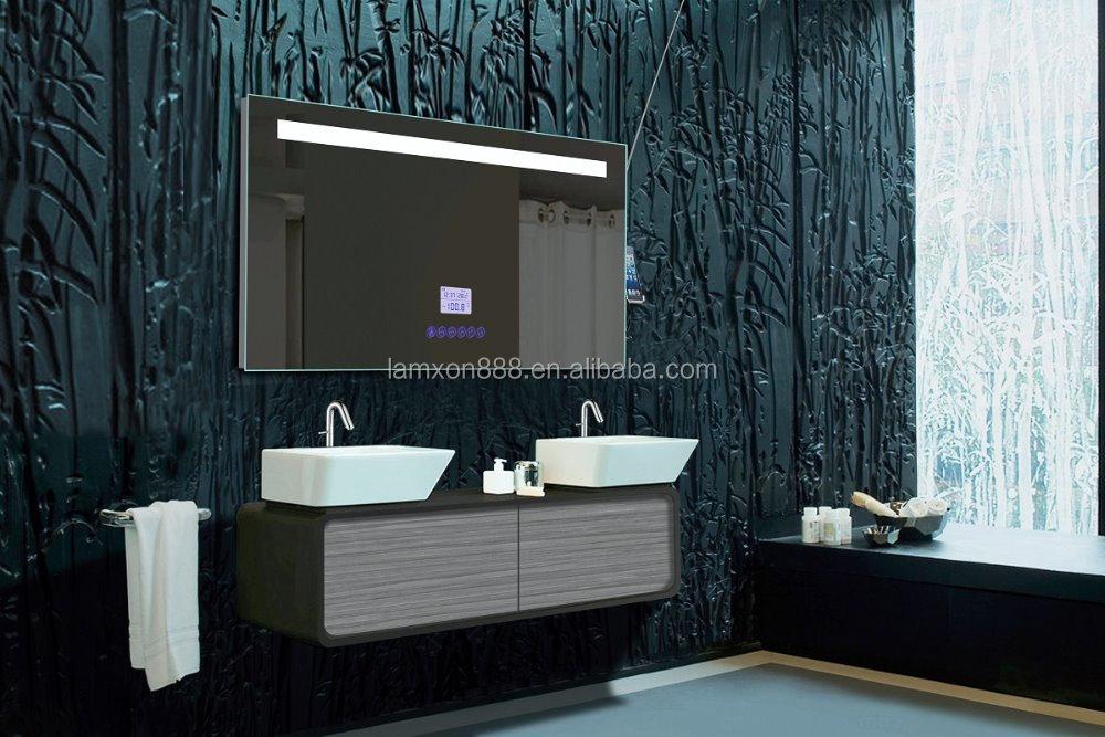 haut de gamme htel salle de bains miroir avec radio et mp3 et horloge multi - Miroir Salle De Bain Antibuee Radio