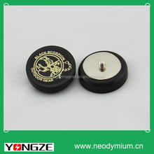 Rubber coated big pot magnet with LOGO.