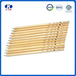 2015 New good quality 12 color natural wooden colored pencil with customized logo printing made in China