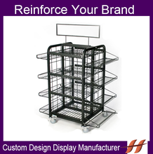 2015 New Collapsible Design Metal Wire Display Stand High Quality 4 Tires Supermarket Floor Display Stand