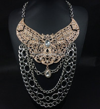 2015 artificial gold long chain imitation necklace rhinestone charm crystal pendant necklace N2536