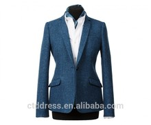 2015 nuevo diseño 100% de lana azul clásico traje de falda de la mujer de la oficina de estilo uniforme