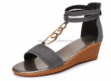 2015 new products high wedge pointed toe casual lady sandals