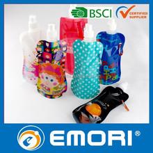 Top quality CMYK printing BPA FREE / EU foodgrade Safety / LFGB / FDA foldable bottle with carabiner