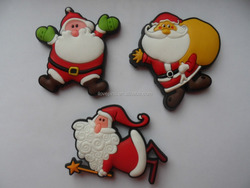 rubber Santa Claus shape fridge magnet, custom soft pvc christmas ornament