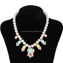 Peal Necklace with Color Candy Beads Baby Necklace