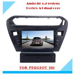 2 DIN dual core car radio with gps navigation android for peugeot 301/Citroen Elysee with mp3 bluetooth steering wheel control