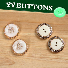 summer newest polyester resin and gold metal effect abs electroplate combination button for jeans,trousers