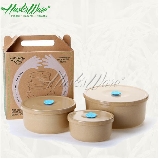 Rice Husk Storage Containers,3in1 Set,100% Organic,Non Plastic,Unbreakable,Biodegradable    Buy Natural Fiber Made Container,Food Storage Container Set,Food ...