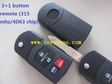 Keyless Remote Control Fob Combo Uncut Ignition Key 4 Button for Mazda SKE12501